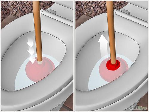 Cách thông tắc bệ xí bằng Pit-Tông cao su