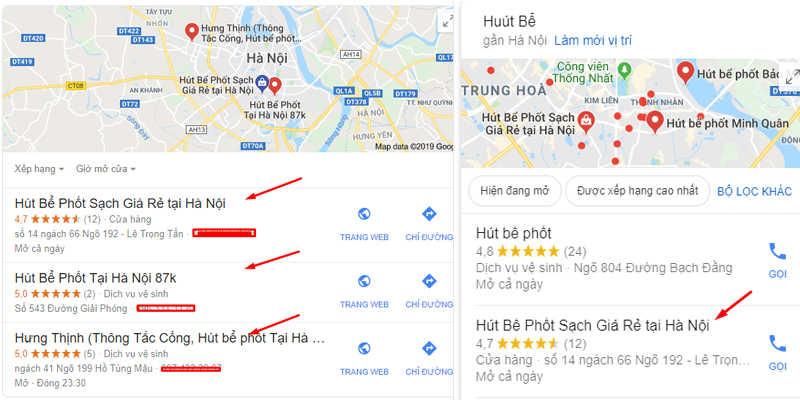 Địa chỉ Google Maps hút bể phốt lừa đảo