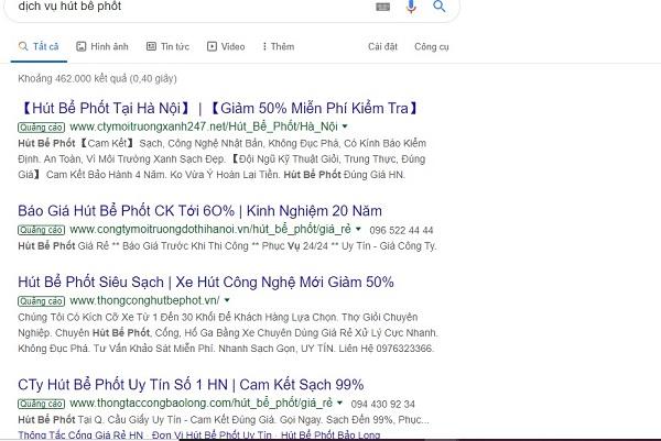 Bạn nên cẩn thận trước những thông tin quảng cáo hút bể phốt trên trang tìm kiếm Google