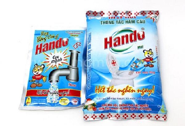Bột Hando sử dụng để khắc phục tình trạng tắc nghẽn bồn cầu, ống nước nhà tắm,...