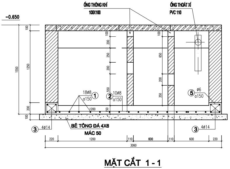 Bản vẽ thiết kế bể tự hoại 3 ngăn